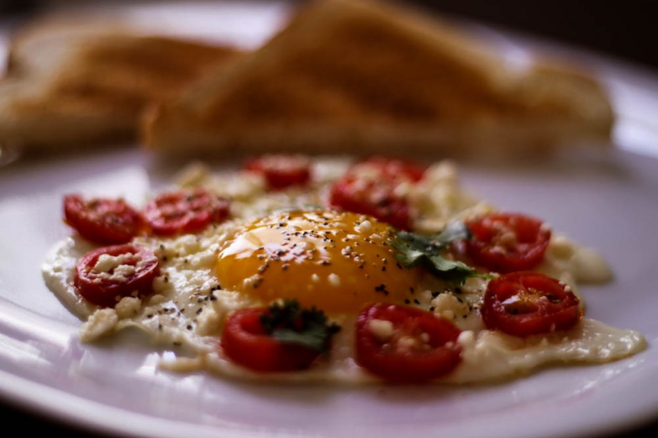 Sunnyside Up Omelette with Feta Cheese Recipe