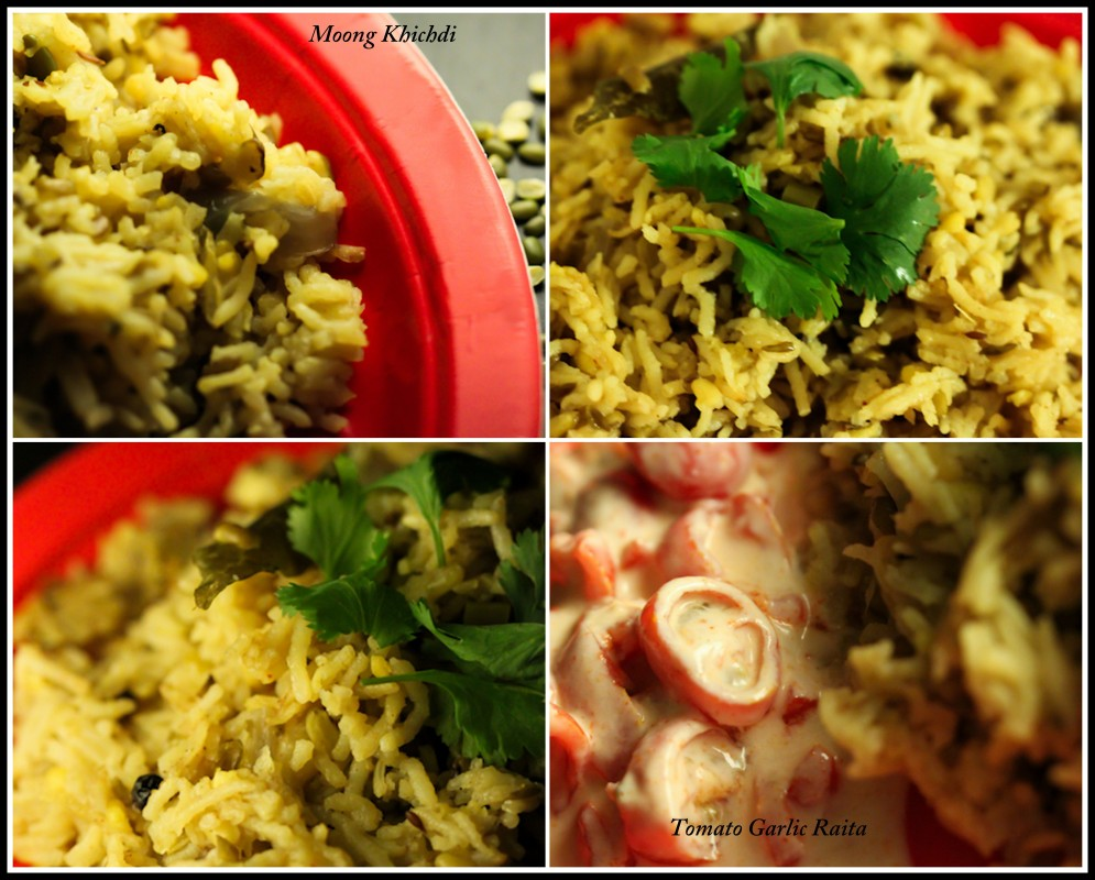 Green Moong Dal Khichdi with Tomatoe Garlic Raita