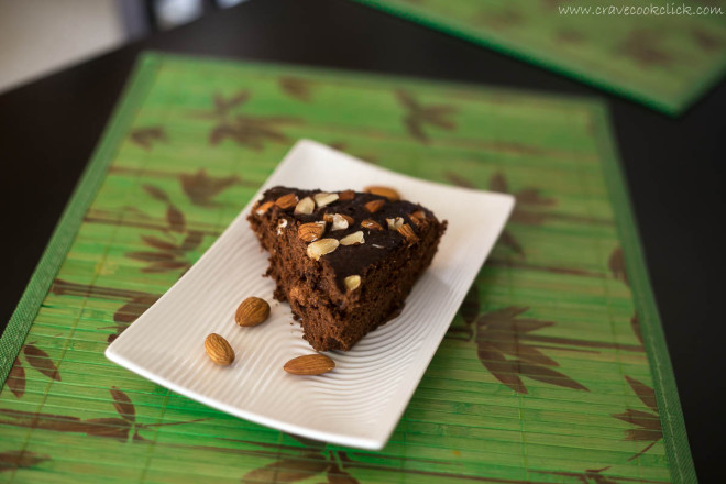 Eggless Instant Chocolate Almond Cake Recipe