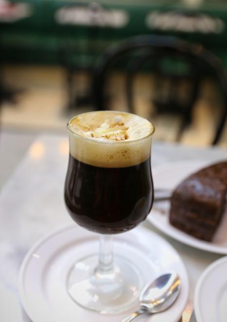 Amazing Irish Coffee with fresh Chocolate Cake