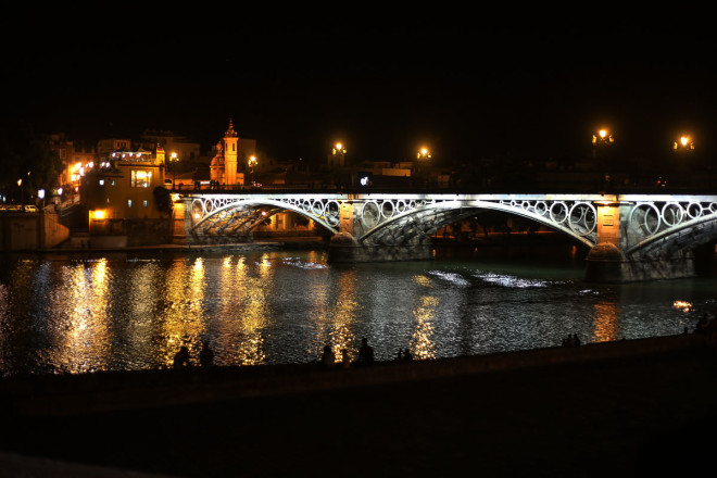 Isabel II bridge is also popularly called Puente Triana, as you continue on towards the heart of Triana quarter. Here the bridge is based on the remains of the former San Jorge castle, which was the last headquarters of the Inquisición in Seville