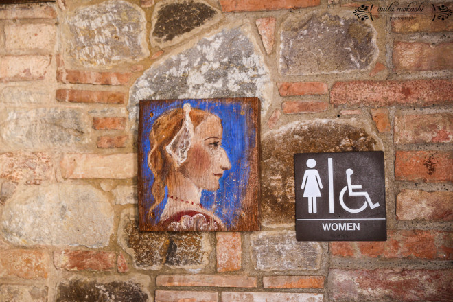Although 13th-century Italian villas inspired the design of this castle and winery, its restroom facilities are completely modern and even luxurious.