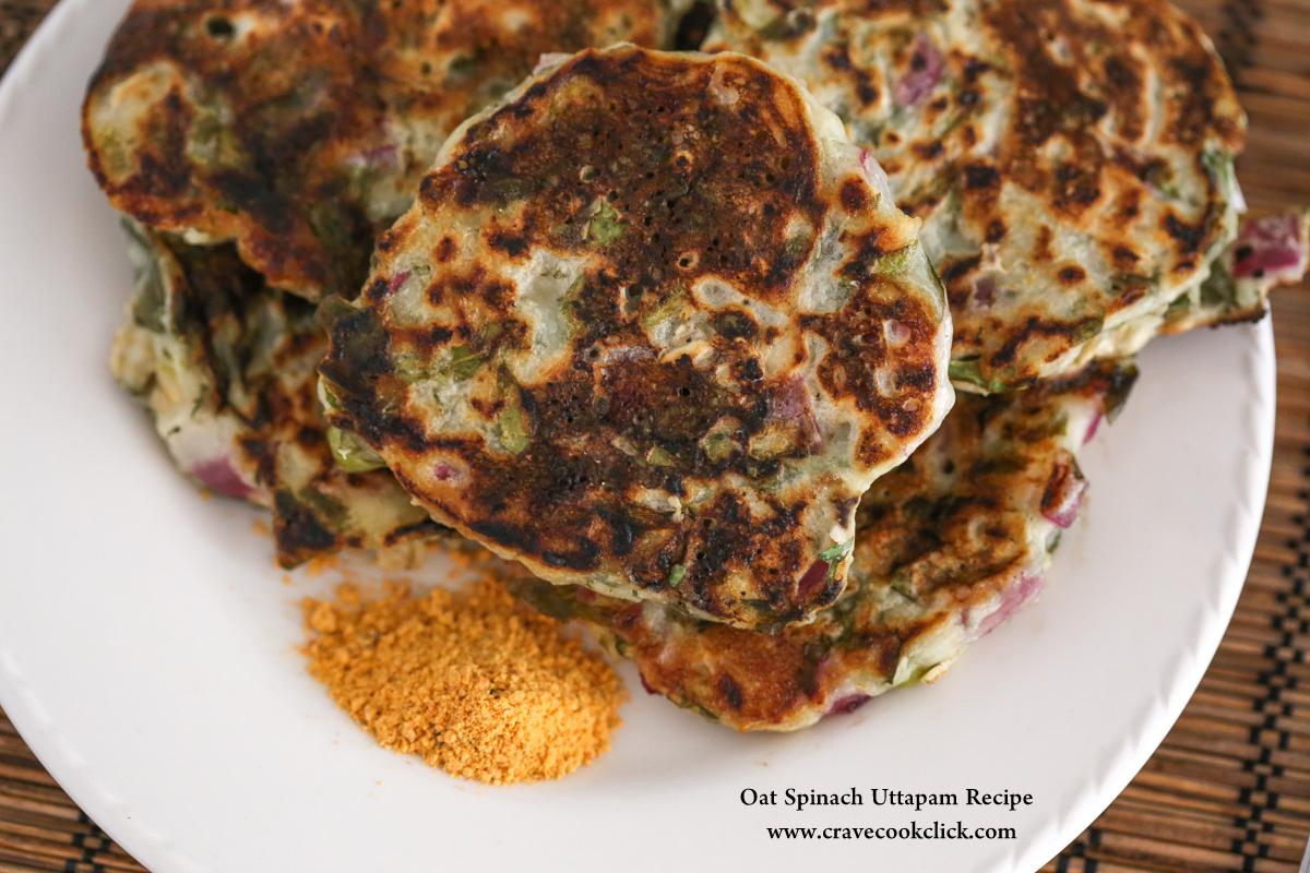 Oat Spinach Uttapam Recipe