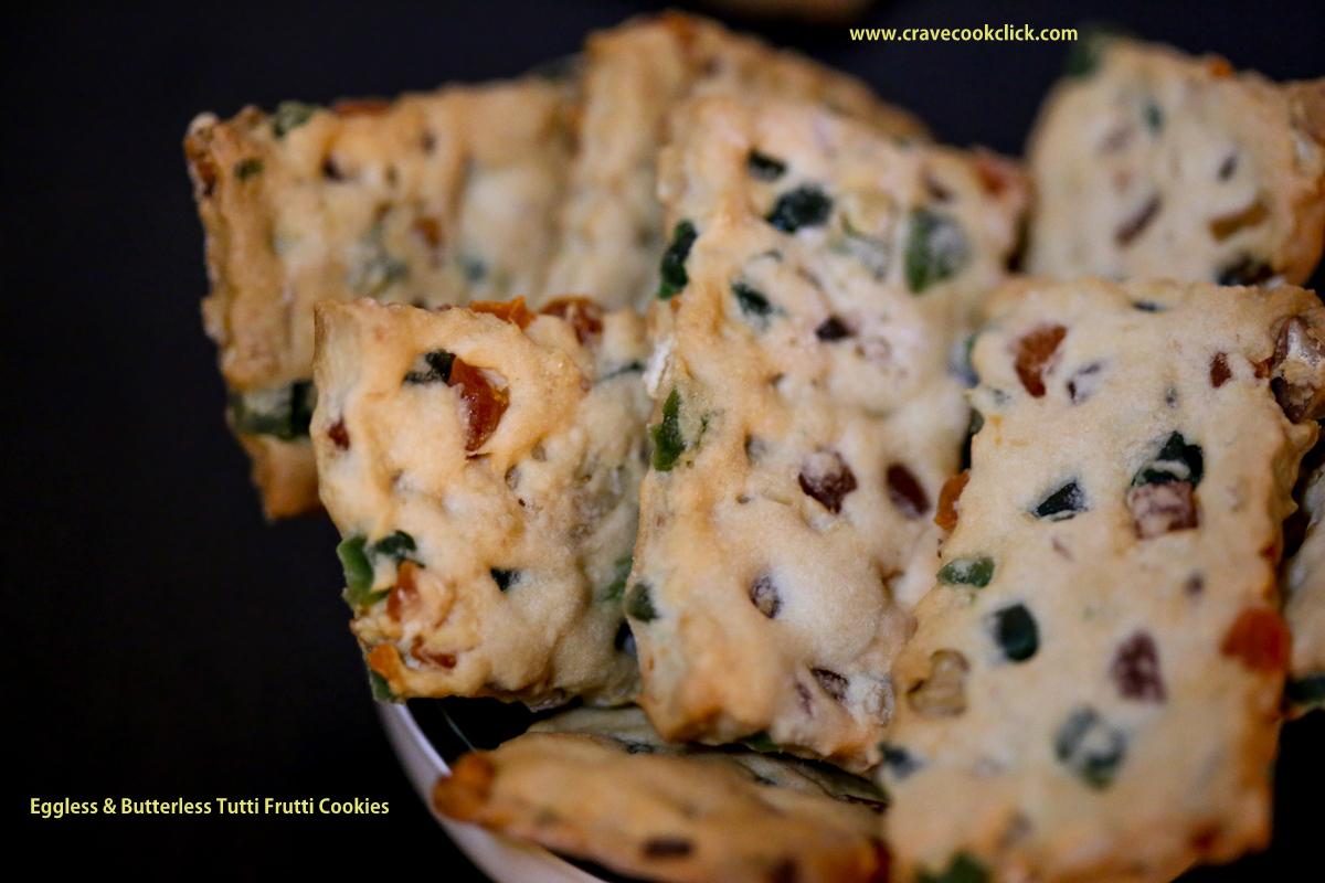 Eggless & Butterless Tutti Frutti Cookies Recipe