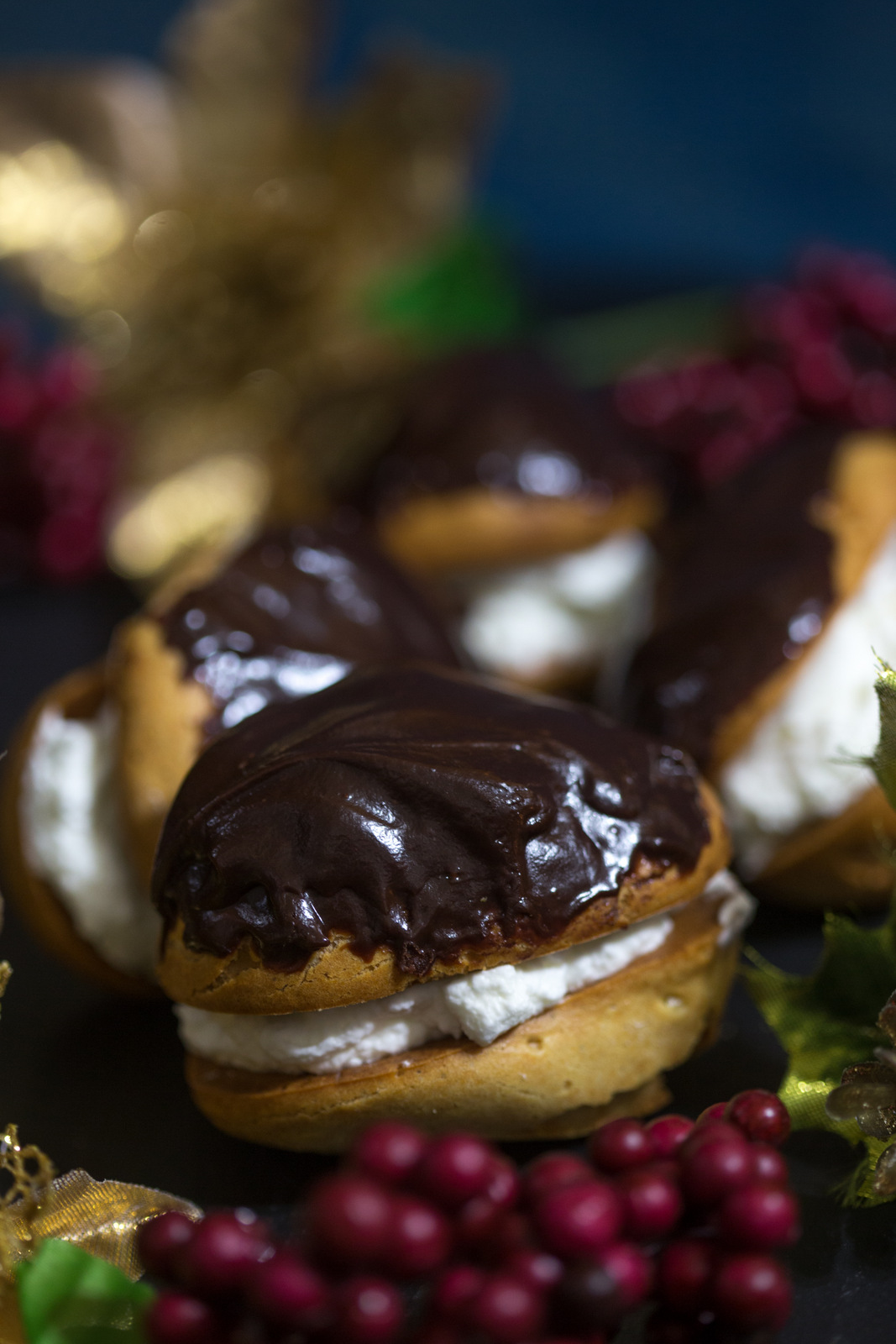 eclair, chocolate eclair, eclair recipe, christmas in the park san jose, holiday recipes, french eclair, how to make chocolate eclair, food photography, food blog