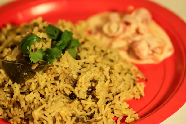 Green Moong Dal Khichdi with Tomatoe Garlic Raita