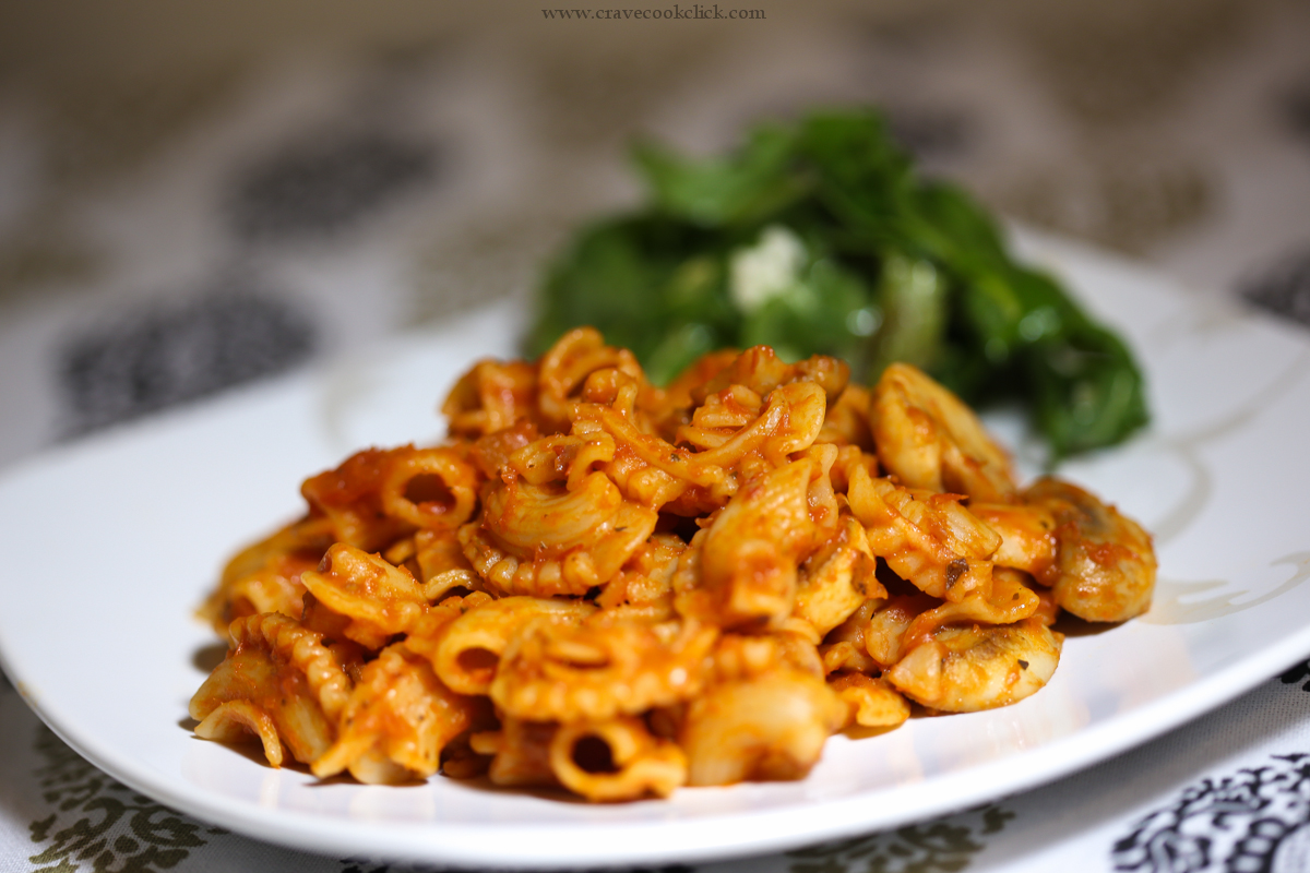 Whole Wheat Pasta in Red Sauce & Mushroom Recipe