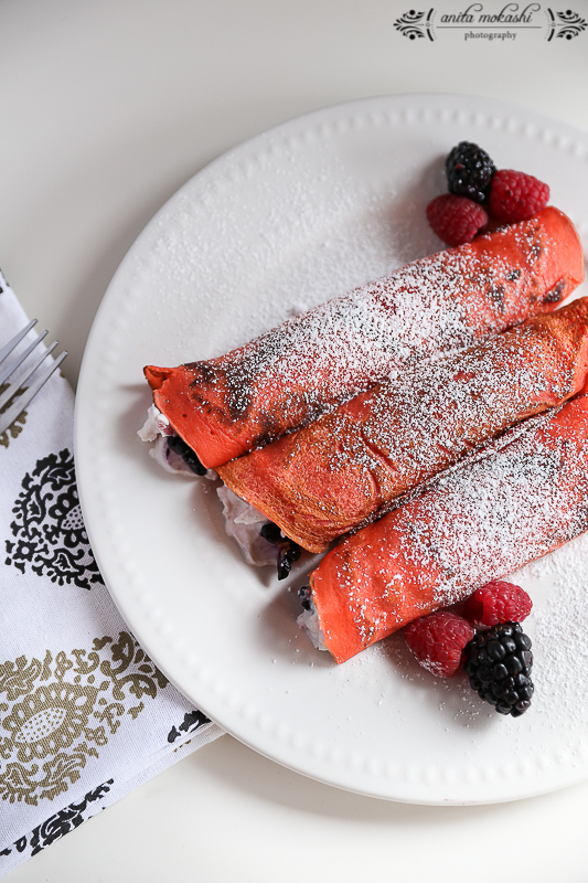 Kahlua Crepes with Ricotta Cheese and Berries Filling Recipe/How to make crepes