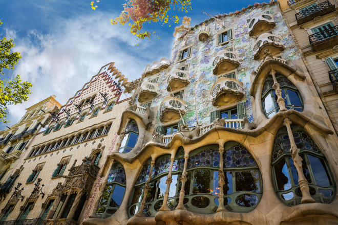 Casa Batlló is a renowned building located in the heart of Barcelona and is one of Antoni Gaudí's masterpieces. Casa Batlló is a remodel of a previously built house. It was redesigned in 1904 by Gaudí and has been refurbished several times after that. Casa Batlló evokes the creativity and playfulness of Gaudí's work through the incrassate facades and creative floors