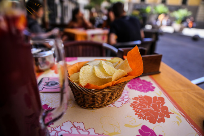 Potato chips are served as starters in almost all restaurants.