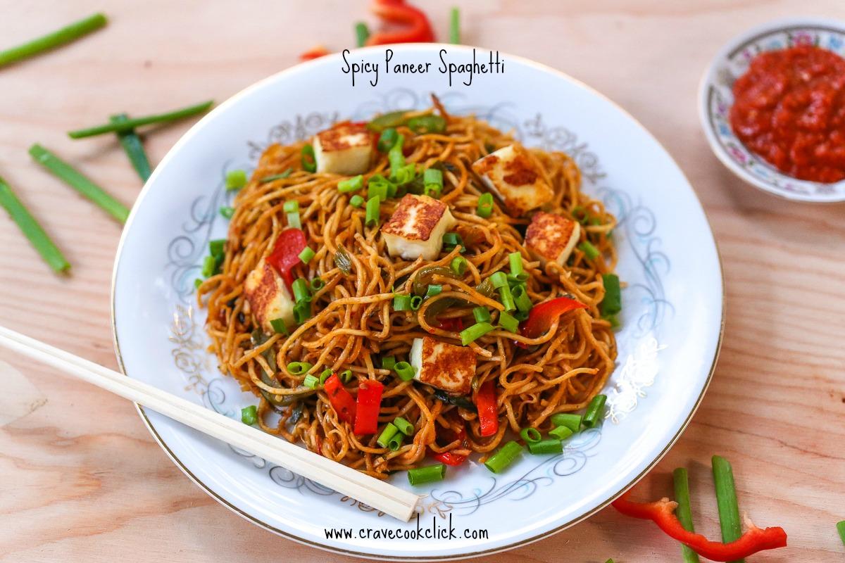 Spicy Paneer Spaghetti Recipe