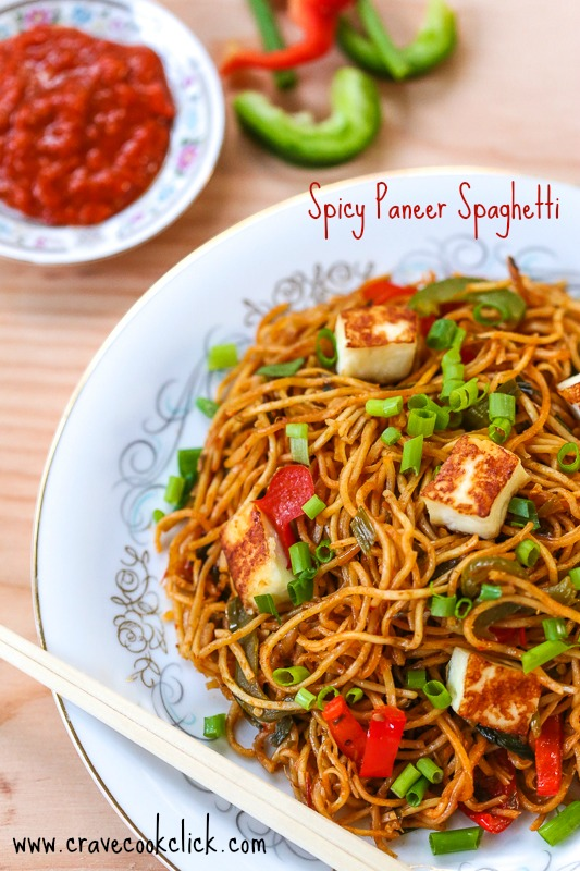 Spicy Paneer Spaghetti Recipe