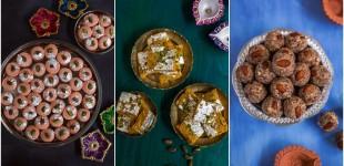 Rose Pedha, Mango Pista Barfi & Dry Fruits Ladoo Recipe-Diwali Special